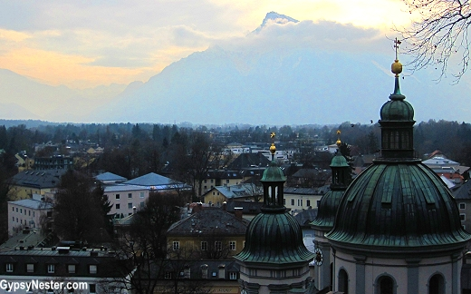 The mountain Untersberg playing hide and seek with the clouds in Salzburg, Austria