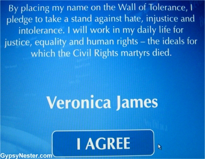 The Wall of Tolerance in The Civil Rights Memorial Center, Mongomery Alabama