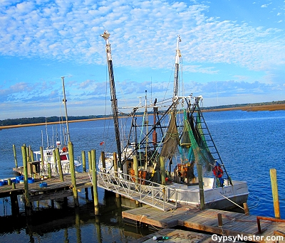 A shrimp boat docked in Townsend, Georgia