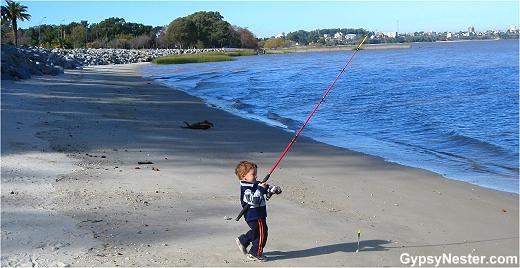 A fisherboy in Colonia Uruguay