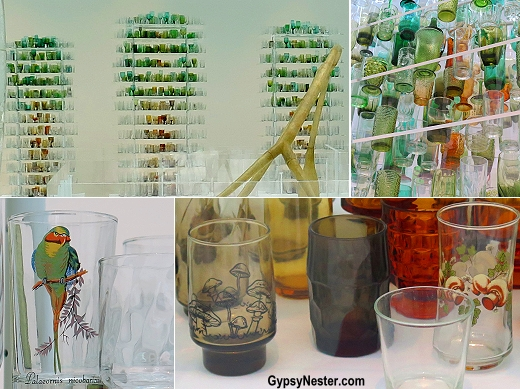 Forest Glass by Katherine Gray, where an illusion of trees is formed from an assortment of everyday drinking glasses. At the Corning Museum of Glass in New York