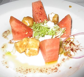 Watermelon and grilled goat cheese salad