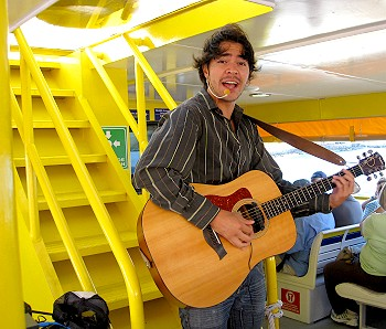 Entertainment aboard the ferry to from Cozumel, Mexico