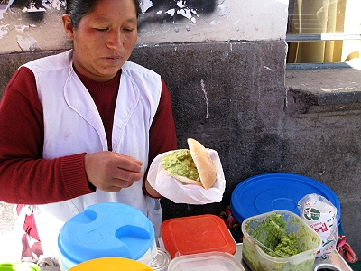 Avocado sandwich in Cusco Peru