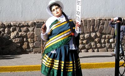Crossing guard in Cusco, Peru