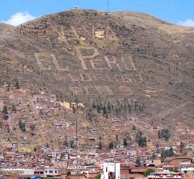 Viva El Peru on a mountainside in Peru