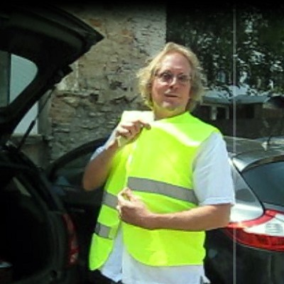 David shows off his safety vest
