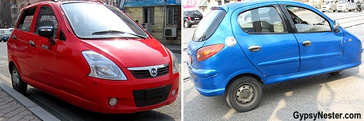 Cute little 3 wheeled cars in Dalian China