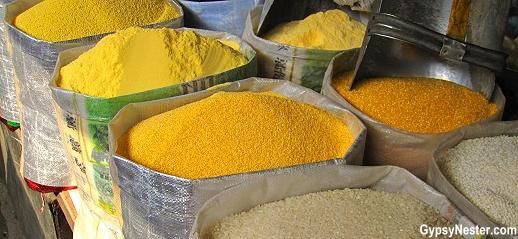 Rice in a hidden marketplace in Dalian, China