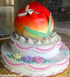 A cake in a hidden marketplace in Dalian, China