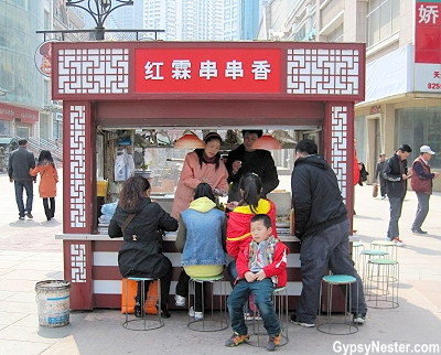 Food on a stick kiosk in Dalian, China