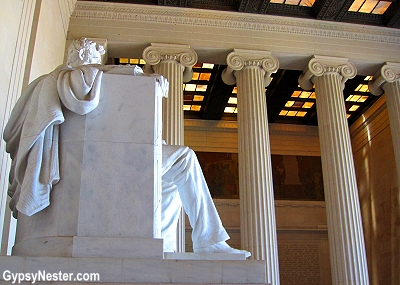 The ceiling at the Lincoln Memorial is thinly cut marble soaked in beeswax to let the perfect amount of light in