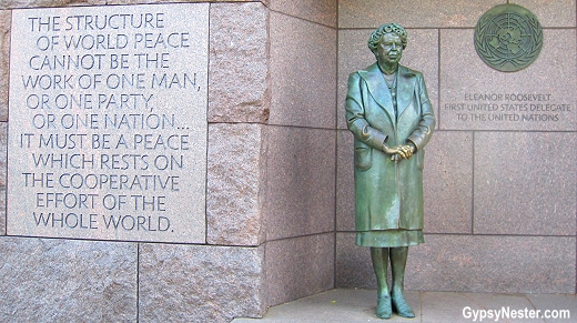 Bronze statue of Eleanor Roosevelt, making this the only presidential memorial that includes a first lady. The sculpture also celebrates Mrs. Roosevelt as the first US delegate to the United Nations