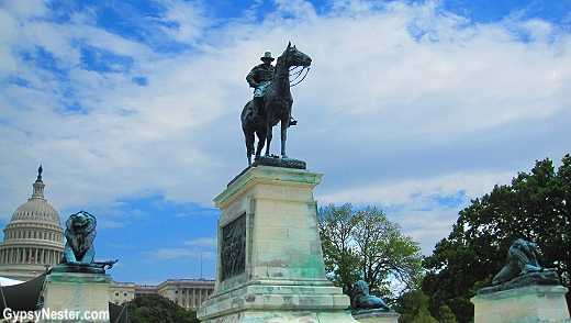 Ulysses Grant Memorial stands on the west side of the Capitol