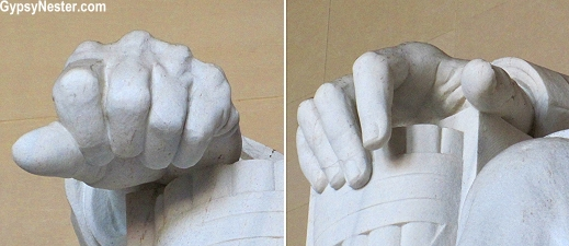 Lincoln's hands spell out A and L in sign language at the Lincoln Memorial in DC