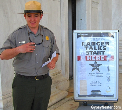 National Parks Rangers are at many of the monuments at the National Mall in Washington DC