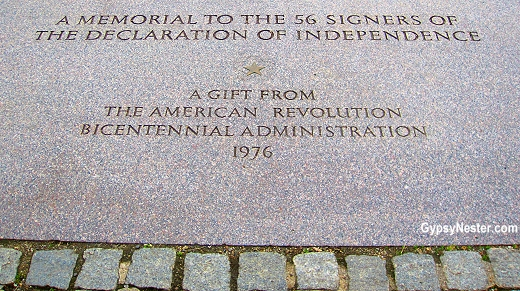 Memorial to the fifty-six signers of the Declaration of Independence in Washington, DC