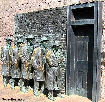 Statues of bread line or soup kitchen at the Roosevelt Monument