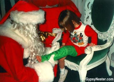 Decibel getting her broken leg signed by Santa