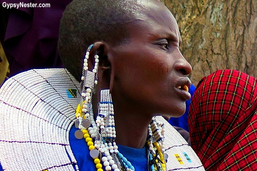 Maasai women are highly decorated and beads hang from elongated earlobes. With Discover Corps in Tanzania, Africa