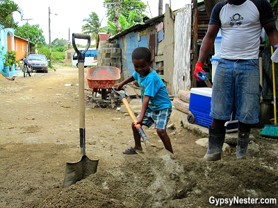 Young boy plays in the Dominican Republic