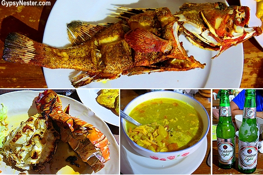 Dominican seafood. a whole red snapper, a rock lobster, seafood soup, and tostones -- washed down with a couple of almost-frozen Presidentes