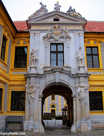 The baroque gates of the Durnstein Abbey in Durnstein, Austria in the Wachau Valley