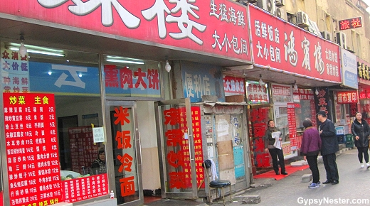 Restaurant serving silkworms in Dalian, China