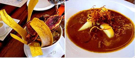 Ecuador food! Goat stew and the fanciest chips we've ever seen. Plantain, yucca and yams.