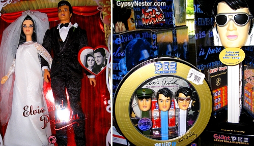 Weird Elvis souvenirs at Graceland in Memphis Tennessee