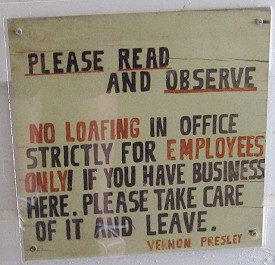 The sign on the door of Vernon Presley's office in Elvis's Graceland, Memphis, Tennessee