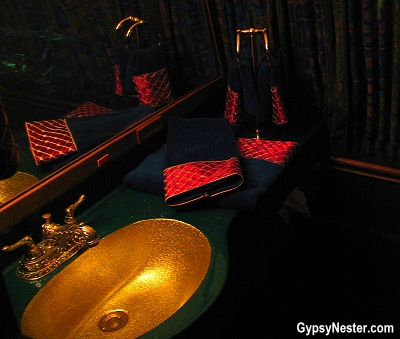 Gold fixtures and sink basin in Elvis' Lisa Marie airplane at Graceland, Memphis, Tennessee