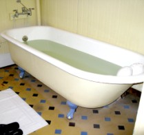 Original claw foot tub at the Palace Hotel in Eureka Springs, Arkansas