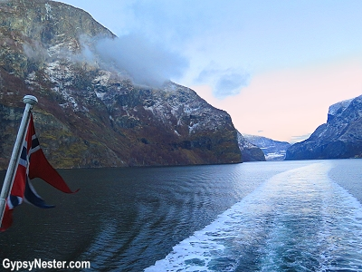 The fjords at sunset on our wintertime Norway in a Nutshell experience