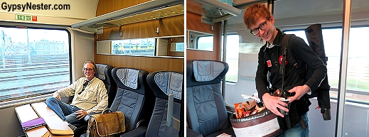 First class accomodations on the train from Amsterdam