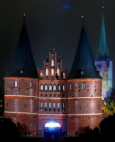 The Holsten Gate in Lubeck, Germany