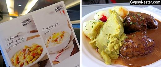 Great seasonal food aboard the Oslo-Bergen train in Norway on our Eurail Adventure!