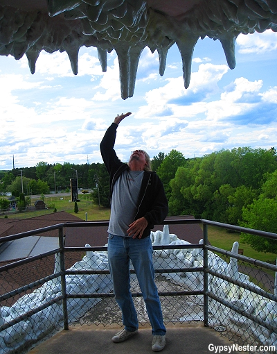 Inside the mouth of the 145-foot muskie outside of the Fresh Water Fishing Hall of Fame in Hayward, Wisconsin