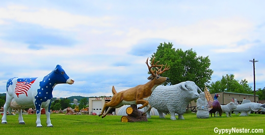 Fiberglass animals n front of FAST Corporation in Sparta, Wisconsin
