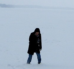 Veronica standing on her first frozen lake
