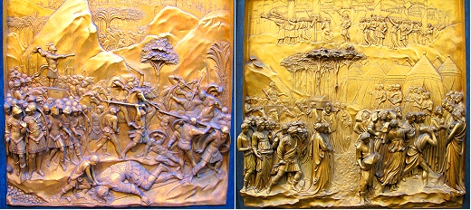 David and Goliath and The Fall of Jericho on the gates of paradise in Florence, Italy