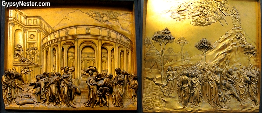 Joseph Sold Into Slavery and Moses and The Ten Commandments on the Baptistery Doors in Florence, Italy