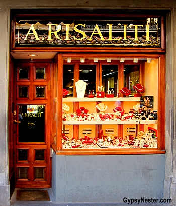 A tiny shop on the Ponte Vecchio in Florence, Italy