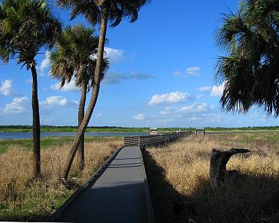 The birdwalk juts out into Upper Myakka Lake, Florida