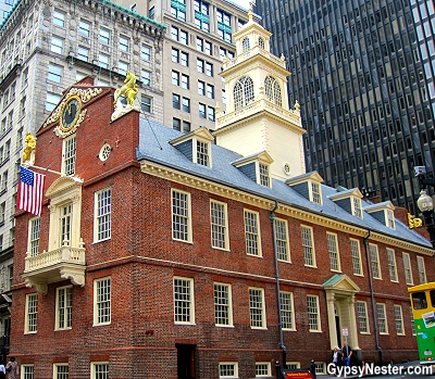 The Old State House where the tea party meetings happened in Boston