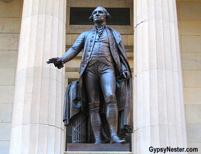 Statue of George Washington at Federal Hall in NYC on Manhattan near Wall Street