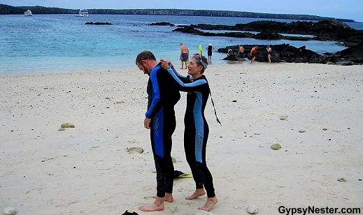 Road Scholars gearing up for snorkeling on Genovesa Island in the Galapagos