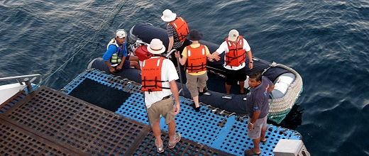Getting in the Zodiac for one last ride in the Galapagos!