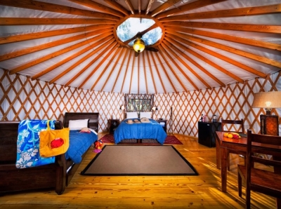 A glamour yurt at El Capitan in Santa Barbara California