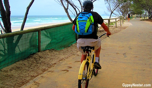 Biking along the coastline in Gold Coast, Queensland, Australia